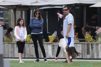 Adam Sandler, Sadie Madison Sandler, Sunny Madeline Sandler, Jackie Sandler out with his family in Malibu