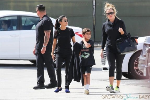Khloe Kardashian with Mason and Penelop Disick and sister Kourtney at Glowzone in LA