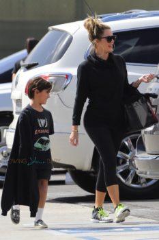Khloe Kardashian with nephew Mason at Glowzone in LA