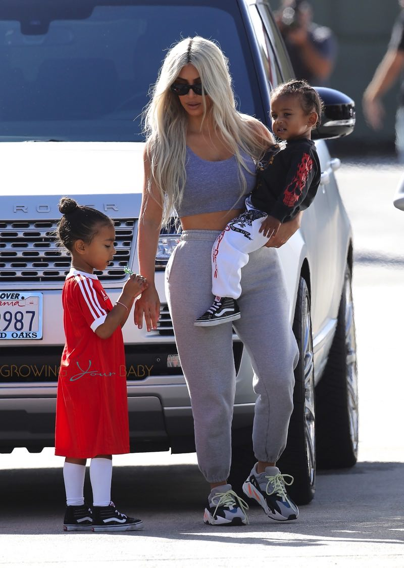 Kim Kardashian West with kids North & Saint West at Glowzone in LA