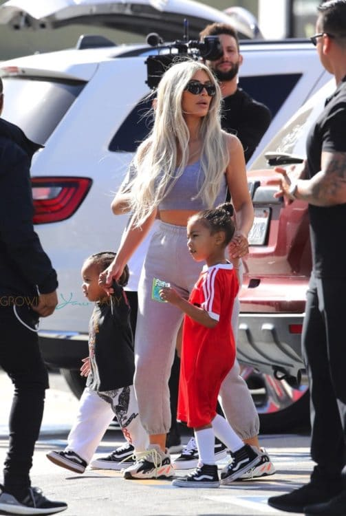 Kim Kardashian West with kids North and Saint West at Glowzone in LA