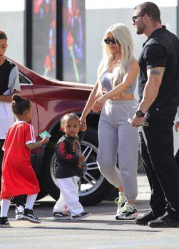 Kim Kardashian West with kids North and Saint at Glowzone in LA