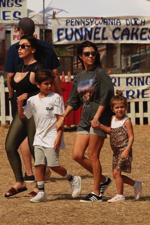 Kourtney Kardashian at Malibu CHili Cookout with kids Mason and Penelope Disick