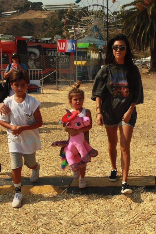 Kourtney Kardashian at Malibu Chili Cookout with kids Mason & Penelope Disick