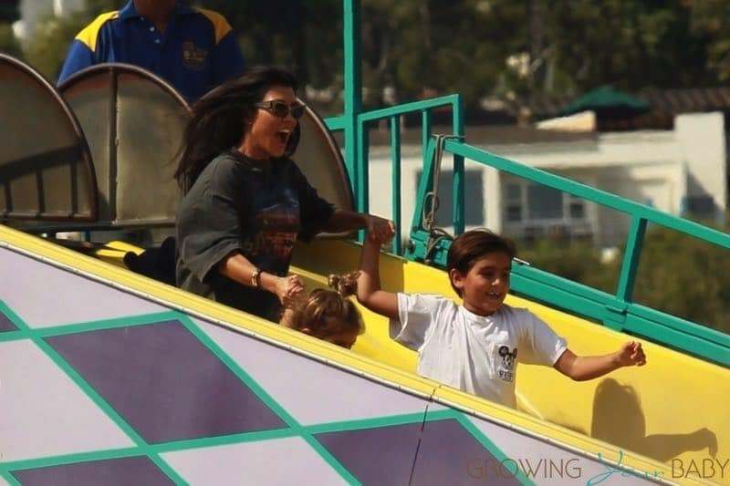 Kourtney Kardashian at Malibu Chili Cookout with kids Mason and Penelope Disick
