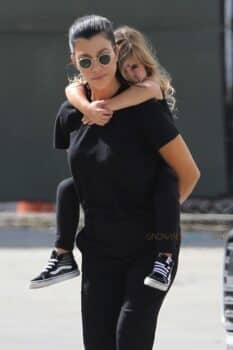 Kourtney Kardashian with daughter Penelope disick at Glowzone in LA