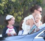 Natalie Portman leaves church with daughter Amalia Milipied