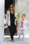 Pregnant Jessica Alba out in West Hollywood with her daughters Haven and Honor Warren