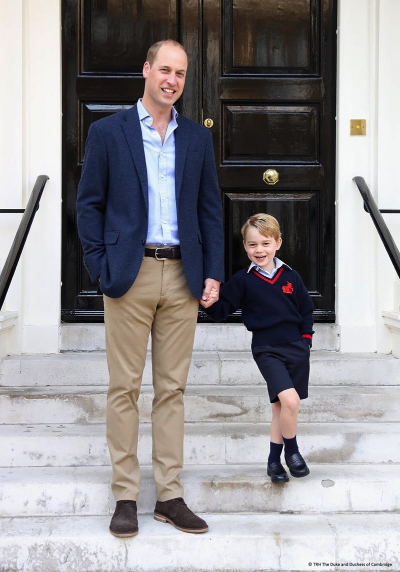 Prince william with son George at Kensington Palace on the first day of school