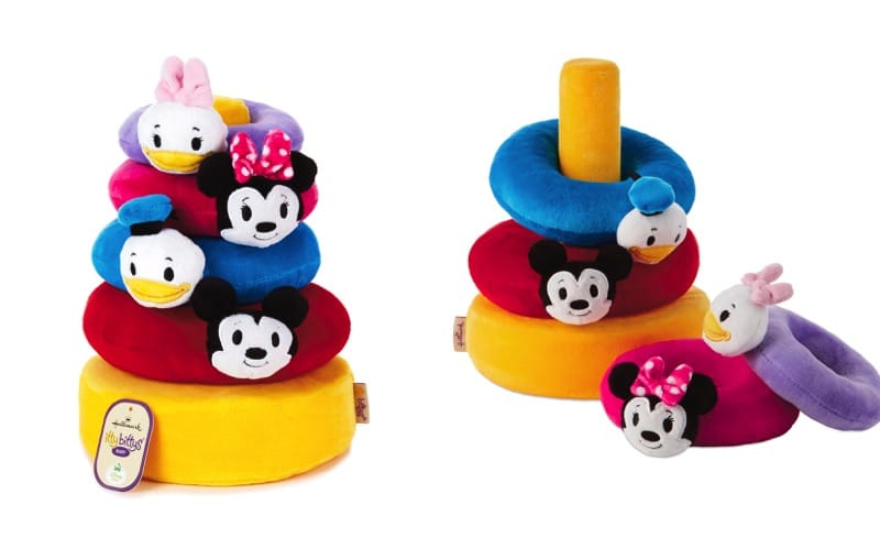 The itty bittys baby stacking toys have fabric hats and bows that can detach