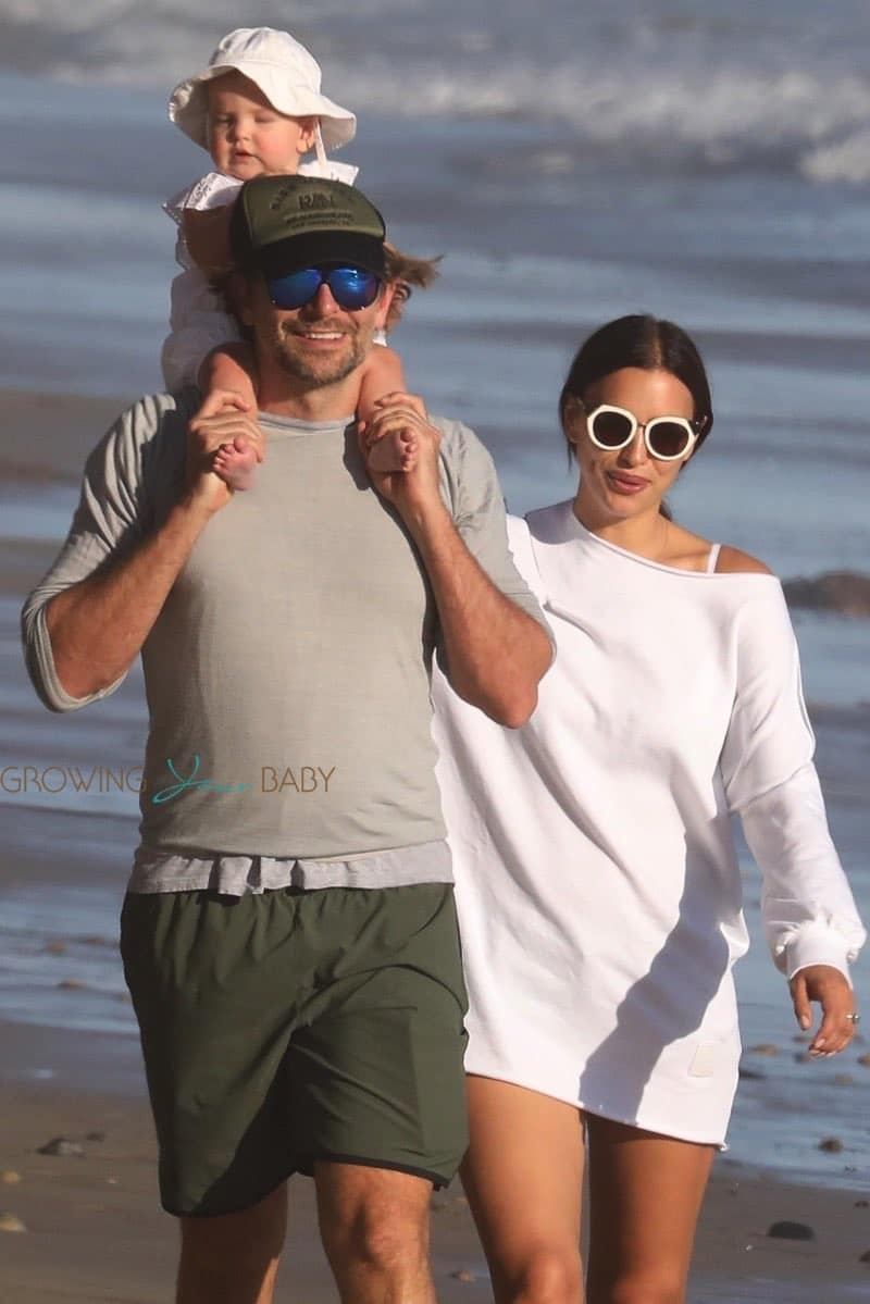 Bradley Cooper and Irina Shayk take baby Lea De Seine to the beach