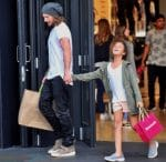 Gabriel Aubry enjoys an afternoon of shopping with daughter Nahla at the Grove