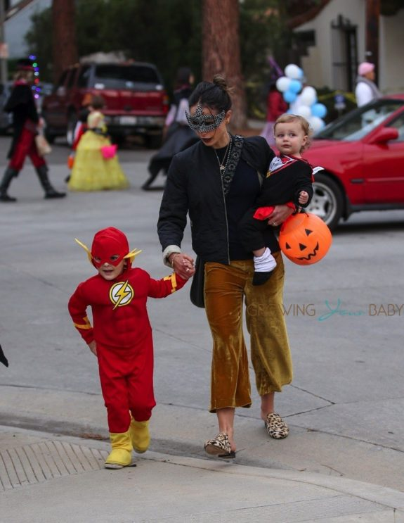 Jordana-Brewster-goes-trick-or-treating-with-her-kids-Rowan-and-Julian.-