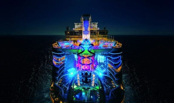 Symphony of the Seas at night