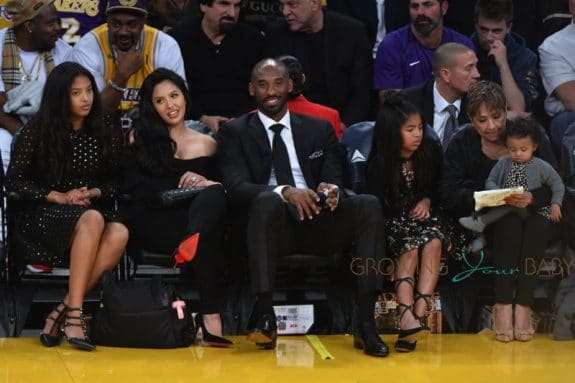 Kobe Bryant court side with daughters Natalia Diamante Bryant, Gianna Maria-Onore Bryant, Bianka Bella Bryant, wife, Vanessa Bryant and mother in-law, Sofia Laine