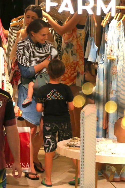 Natalie Portman gets in some retail therapy in Rio while vacationing with family members and friends.