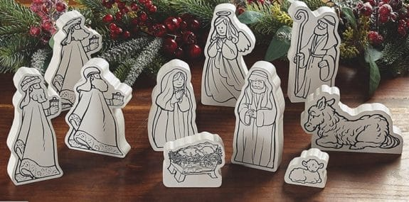 One Holiday Lane Wooden Coloring Nativity Set - kid friendly