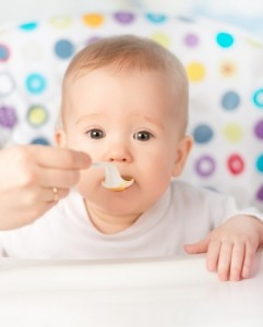 Baby eating cereal
