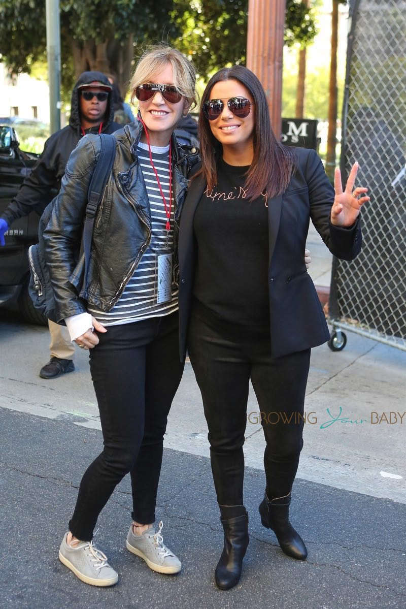 Eva Longoria poses with Felicity Huffman at the Los ...