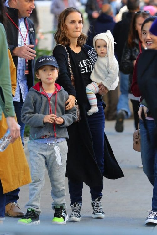 Natalie Portman attends the Los Angeles Women's March 2018 with her kids Aleph and Emilia