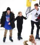 Harper Beckham, Romeo Beckham, and Cruz Beckham go ice skating with their nannies in Central Park New York City