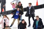 Harper Beckham, Romeo Beckham, and Cruz Beckham go ice skating with their nannies in Central Park NewYork City