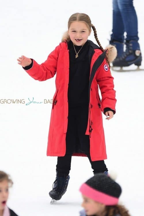Harper Beckham goes ice skating in Central Park NYC