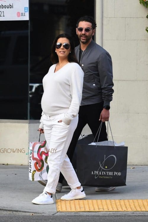 Pregnant Eva Longoria grabs lunch at Villa Blanca Restaurant in LA with husband Jose Baston