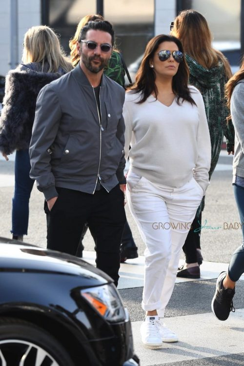 Pregnant Eva Longoria grabs lunch at Villa Blanca Restaurant with husband Jose Baston