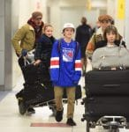 Soccer superstar David Beckham and his kids Harper, Romeo and Cruz were spotted arriving together at JFK airport in New York City