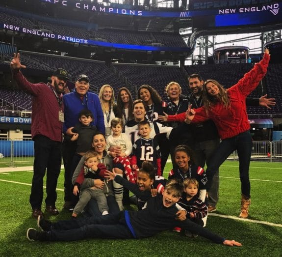 Tom Brady with kids Vivian, Ben and John before the superbowl