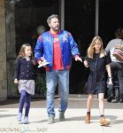 Ben Affleck leaves church with daughters Violet and Seraphina