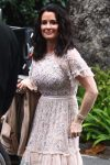 Kyle Richards arrives at the Bel Air Hotel to attend Khloe Kardashian's star studded baby shower.