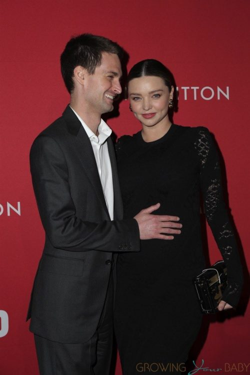 Pregnant Miranda Kerr and husband Evan Spiegel arrive at The Broad in Los Angeles