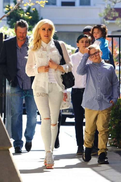 Blake Shelton and Gwen Stefani attend church with kids Kingston, Zuma and Apollo