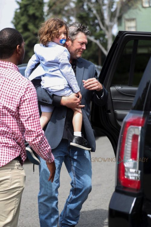 Blake Shelton leaves church Gwen's son Apollo Rossdale