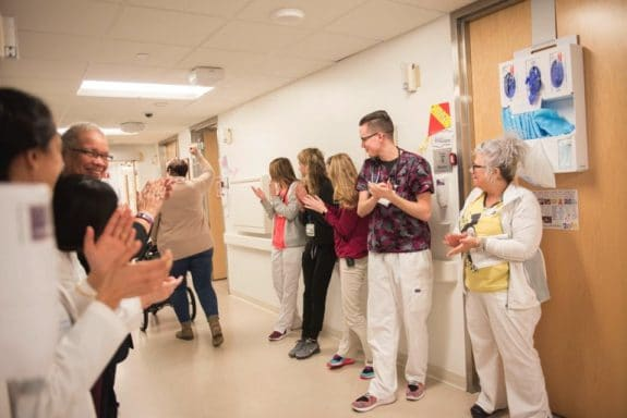 Cleveland Clinic Children's staff give baby Grace and mom a celebratory send-off after their eight-month stay in the hospital