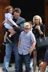 Gwen Stefani and Blake Shelton leave church with the singer's kids Apollo and Zuma