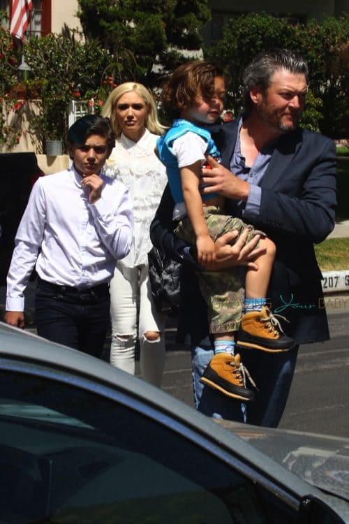 Gwen Stefani and Blake Shelton take the kids to church.