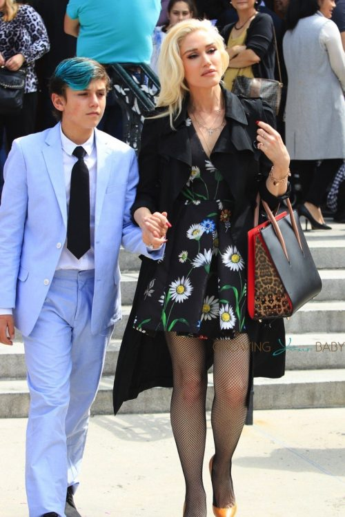 Gwen Stefani leaves Easter service with son Kingston Rossdale