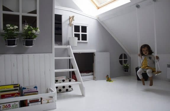Indoor modern two story playhouse with sleeping for 2 kids