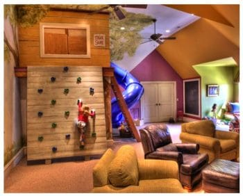 Indoor playhouse with climbing wall and super slide Gabriel Builders