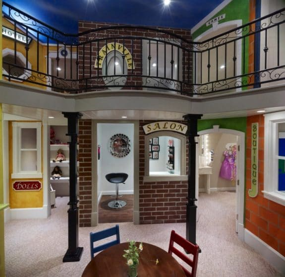 Two story indoor playhouse village