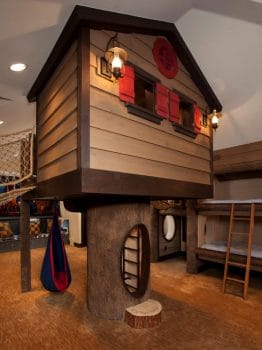 indoor adventure playhouse with bridges and tunnels to bunkbeds