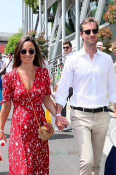 James Matthews and pregnant Pippa Middleton attend the 2018 French Open