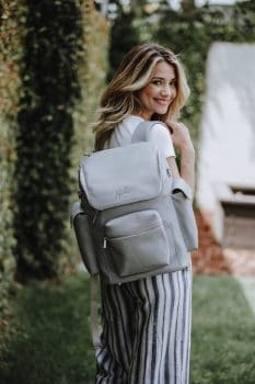 JuJuBe Forever Backpack Stone Vegan Leather diaperbag