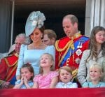 The Duke and Duchess of Cambridge at tropping of the color 2018 with kids George & Charlotte