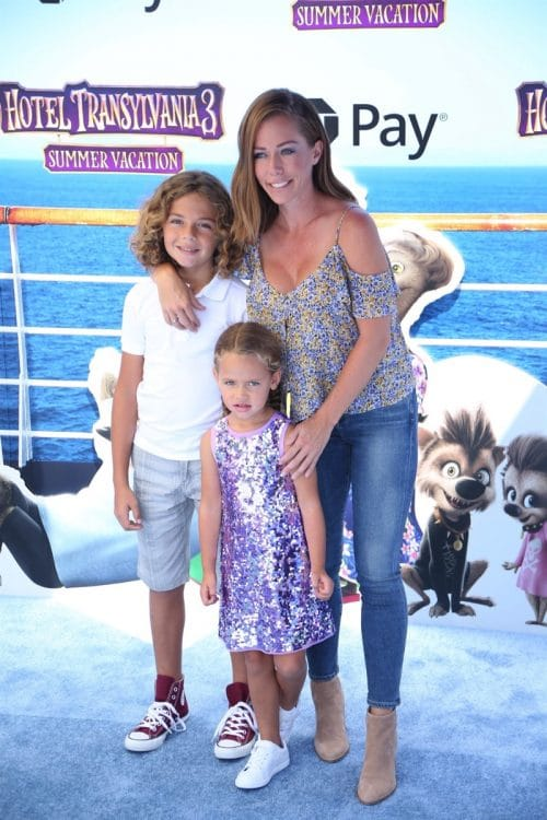 Kendra Wilkinson with kids Hank Jr and Alijah at at the premiere of Hotel Transylvania 3 Summer Vacation