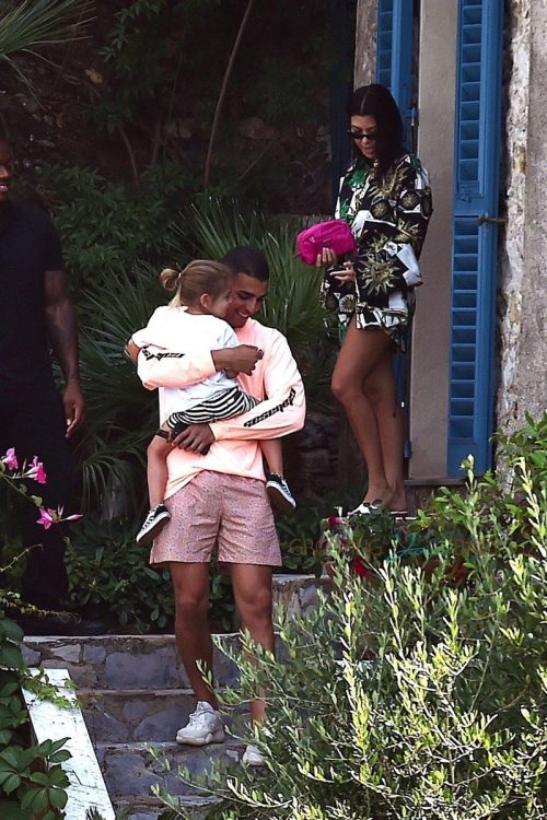 Kourtney Kardashian, Younes Bendjima, Raine Disick in Italy