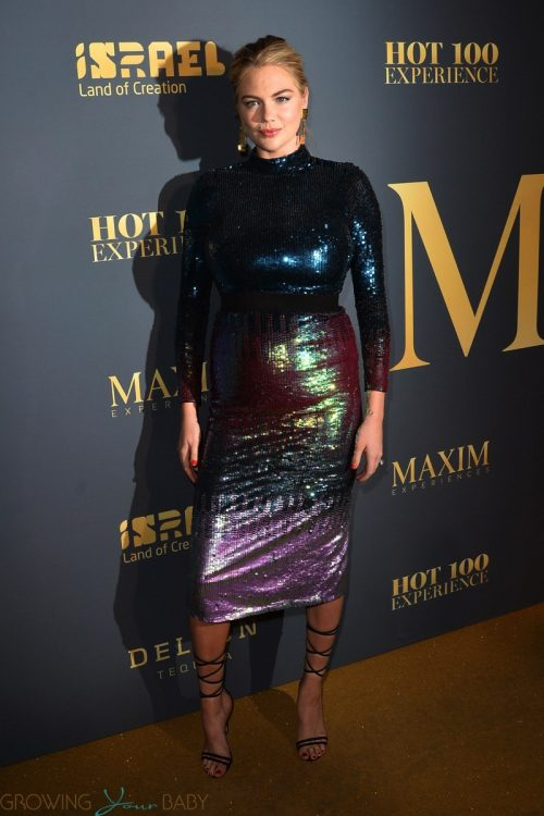 Pregnant Kate Upton poses at The Maxim Hot 100 Party